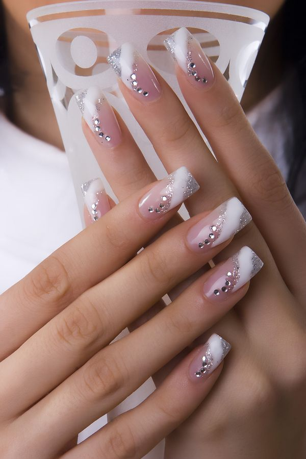 Silver and White Nail with Crystals.