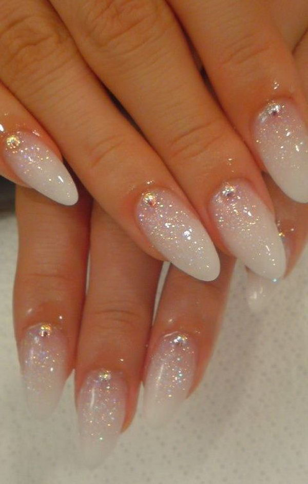 White Glitter Wedding Nails.