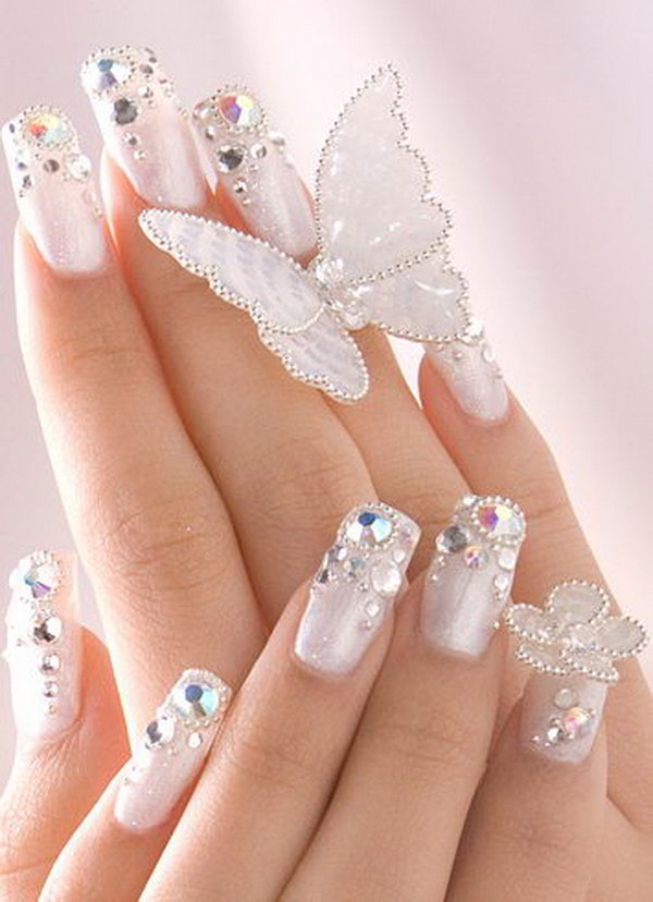 Romantic Wedding Nail Design with Gems.