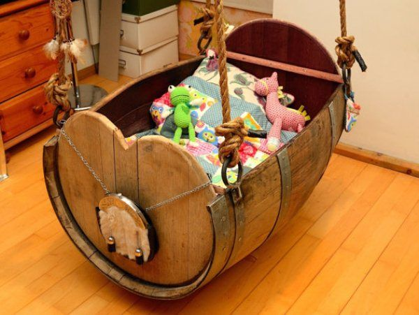 Baby Cradle Made from Old Wine Barrel.