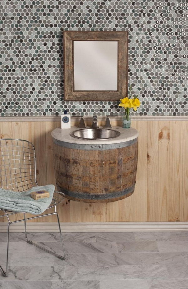 Wine Barrel Bathroom Sink.