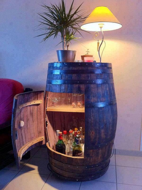 DIY Wine Barrel Cabinet.