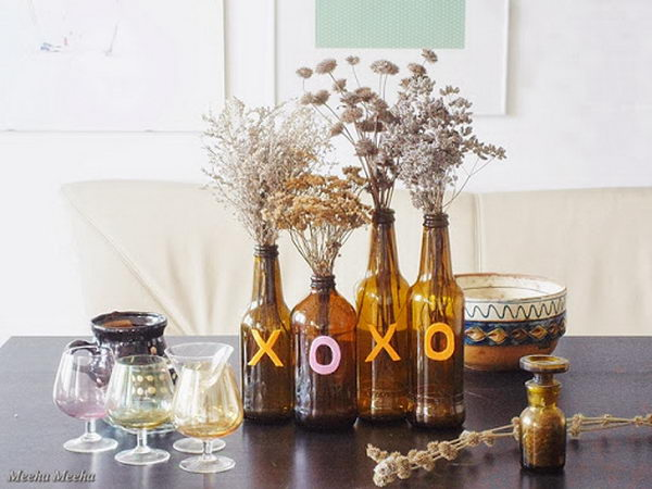 Brown Bottle Fall Centerpiece.