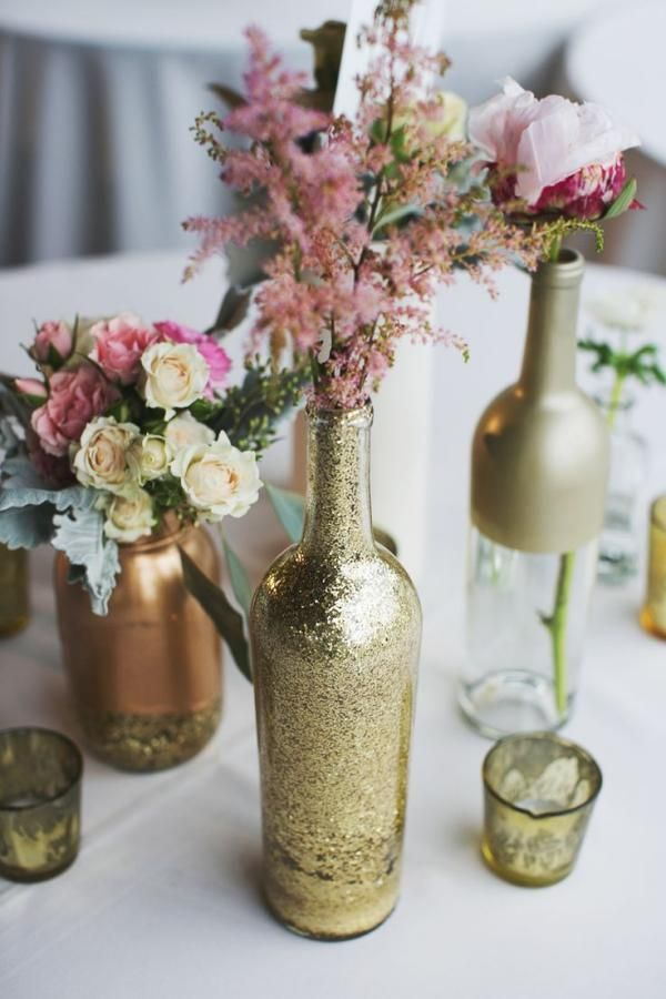 Glitter Wine Bottle Centerpiece.