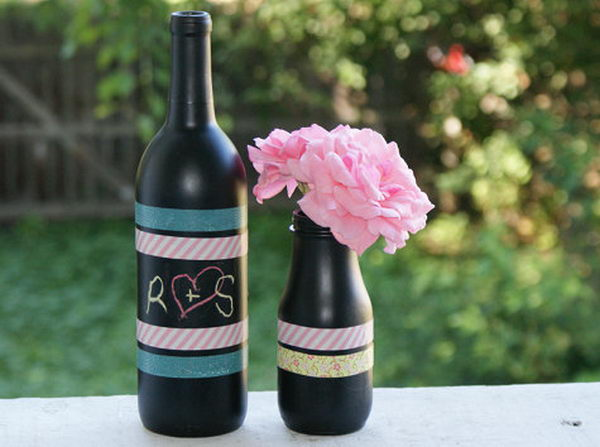 DIY Chalkboard Paint Centerpiece.