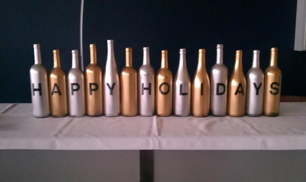 Holiday Party Crafting with Wine Bottles.