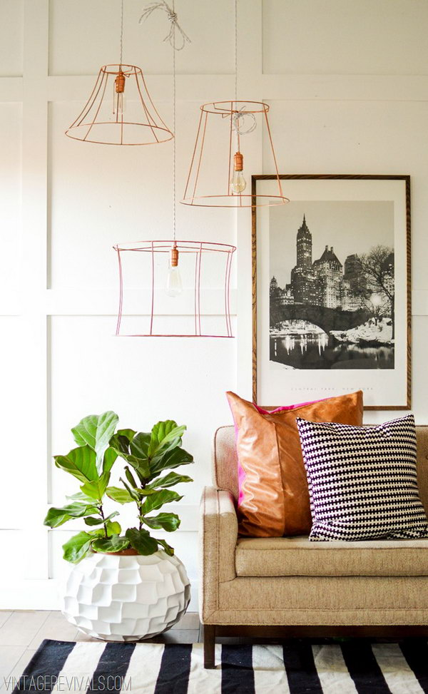 Copper Wire Pendant Lights. Get the tutorial