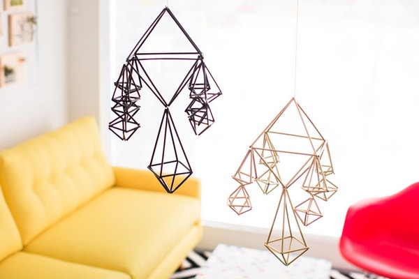 DIY Geometric Mobiles. See the tutorial