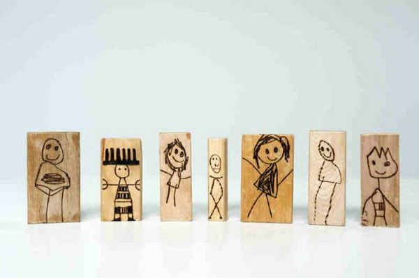 DIY Wood Burned Doll Blocks