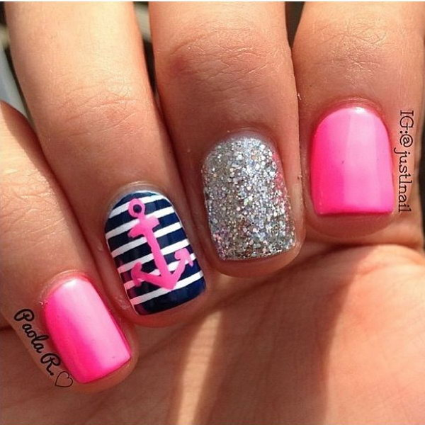 Hot Pink Anchor Nails with Glitter.