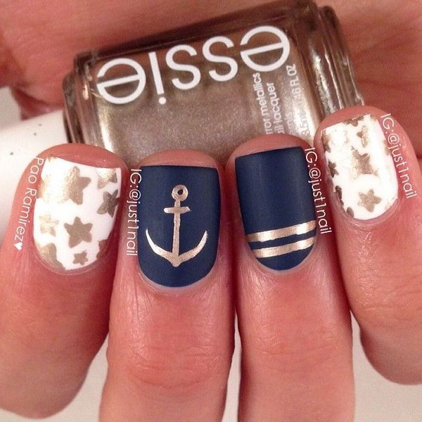 Glitter Stars and Anchor Nautical Manicure.