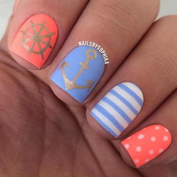 Paster Blue and Orange Anchor Nails.