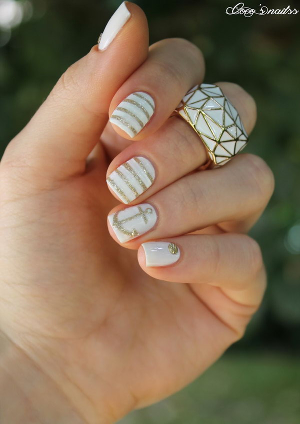 Simple White & Gold Anchor Nails. Get the tutorial