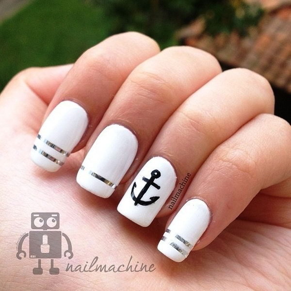 Black, White and Silver Nails Accented with an Anchor.