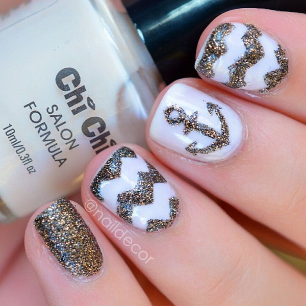 Glitter Anchor and Wavy Nails.