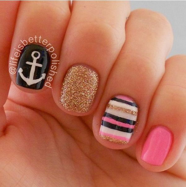 Glitter and Stripped Anchor Nails.