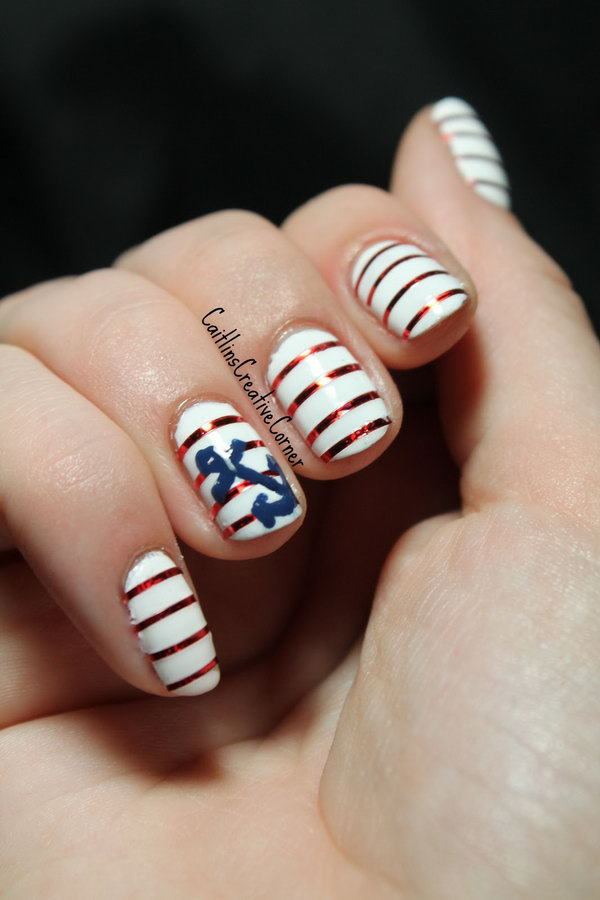 Red and White Stripes with an Anchor Accented Nails. See more details
