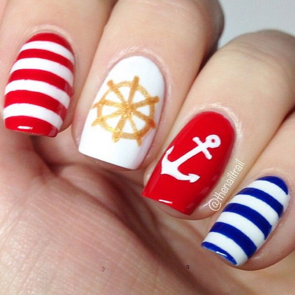 Red, Blue and Gold Nautical Nails With Anchor.
