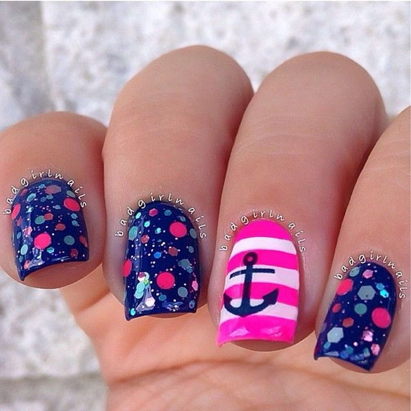 Nautical Anchor Nail Design with Pink Stripes.