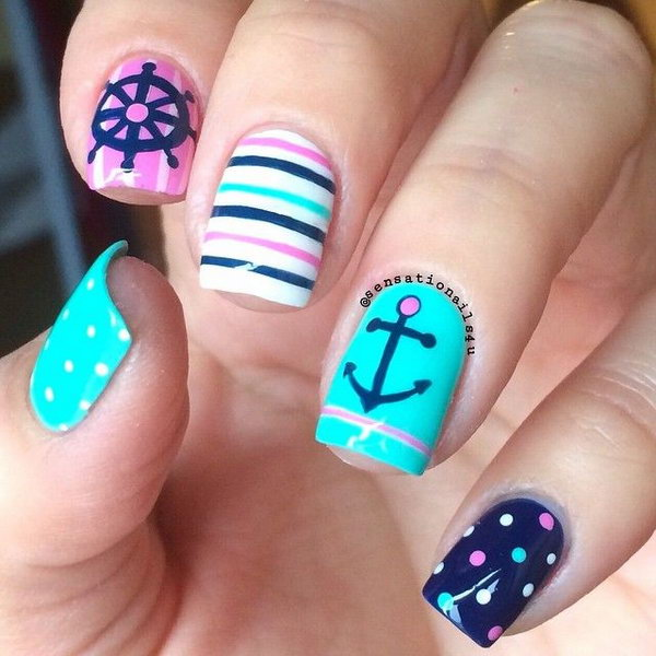 Charming Nautical Anchor Manicure Design - 50 Cool Anchor Nail Art Designs - Noted List