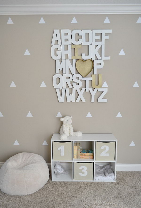 30 diy ideas tutorials for a cute baby room noted list for Baby room decoration letters