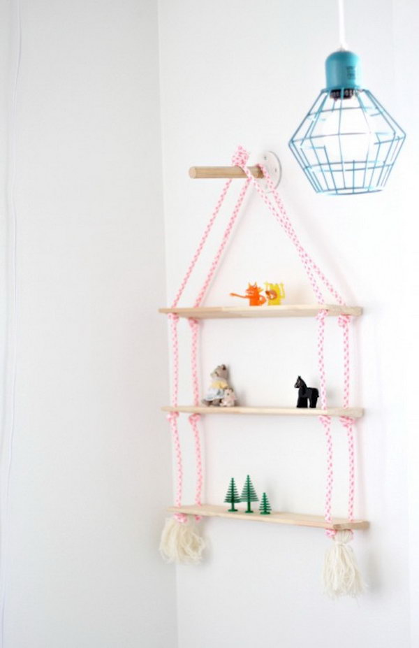 DIY Rope Shelving. See the details