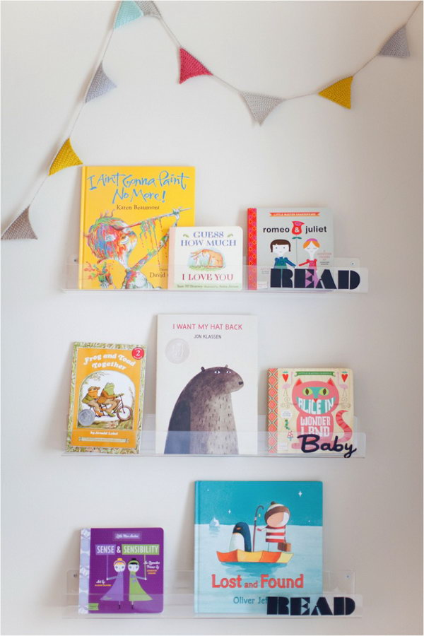 Clear Shelves for Storybooks.