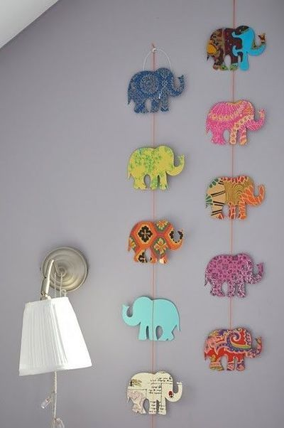 DIY Elephant Garland for Nursery.