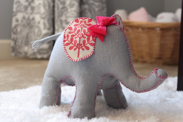 Cute DIY Elephant Doorstop. See the diractions