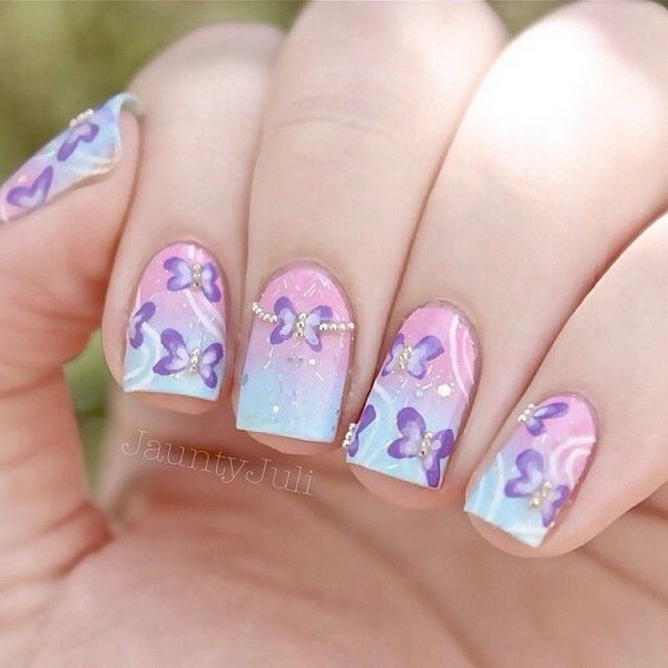 Pastel Butterfly Nail Designs.