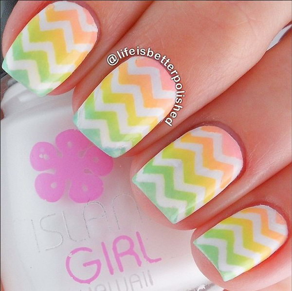 Ombre Chevron Nail Designs.