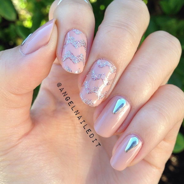 Gems Studded Chevron Nails.