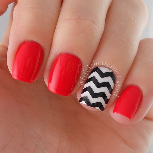 Black and White Chevron Pattern Nails.
