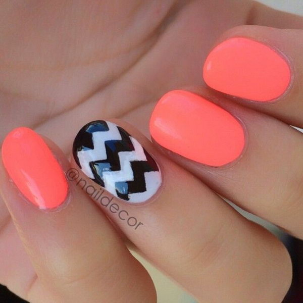 Neon Orange & Black & White Chevron Nails. See the tutorial