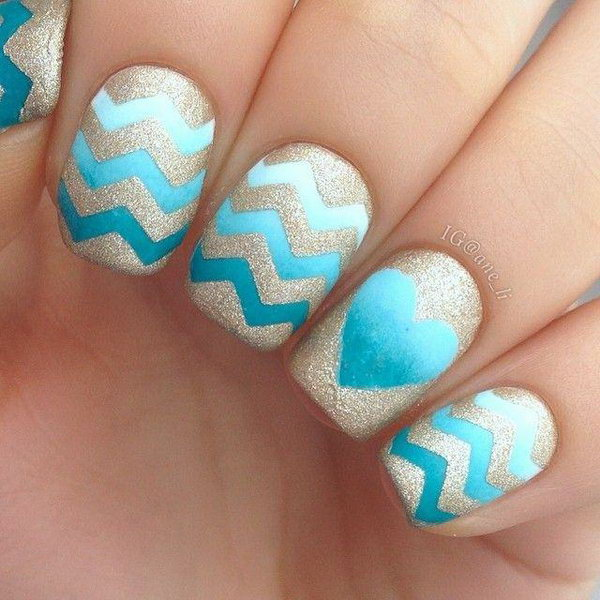 Sea Blue Heart Chevron and Glitter Nail Designs.