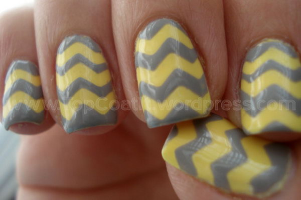 Grey and Yellow Chevron Nails. Get the tutorial