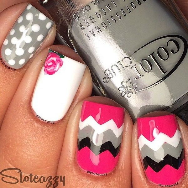Polka Dots and Chevron Nail Design.