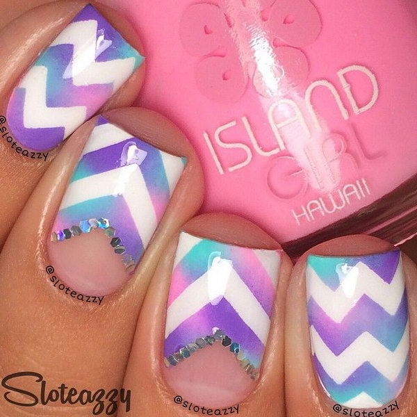 Purple and Pink Mixed Chevron Nails with a Bit of Gems.