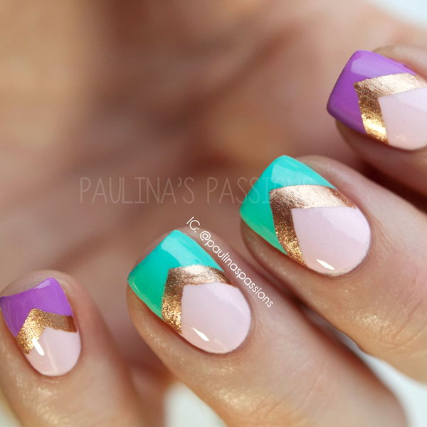 Purple, Turquoise, & Chevron Nails. See the tutorial