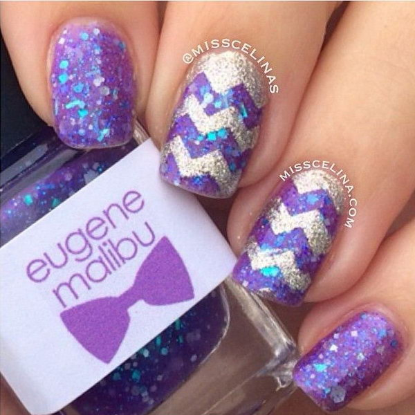 Purple Glitter Chevron Nails.