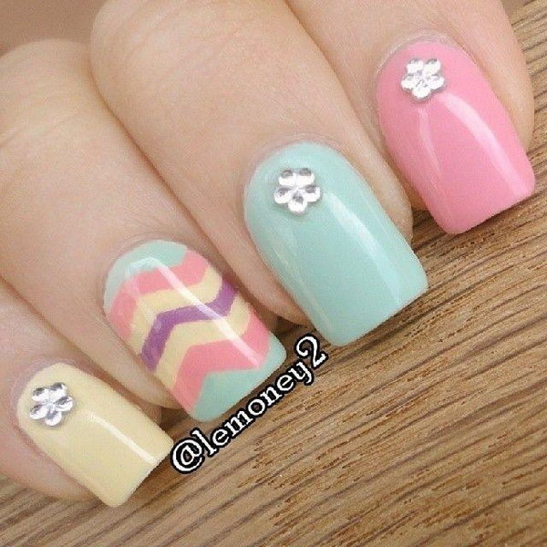 Pastel Chevron with Gems Nails.
