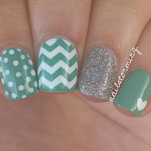 Polka Dots, Chevron and Glitter Nails.