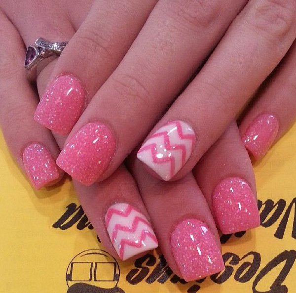 Pink Glitter Chevron Nails.