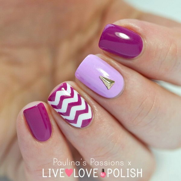 Purple and White Themed Chevron Nails.