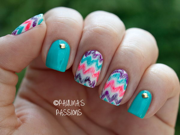 Washed out Chevron Nails. See more directions
