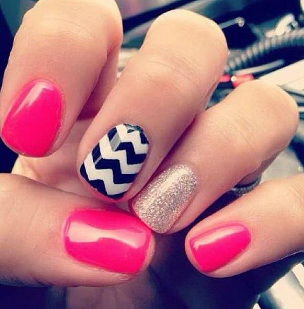 Pink and Glitter Chevron Nails. Get the tutorial