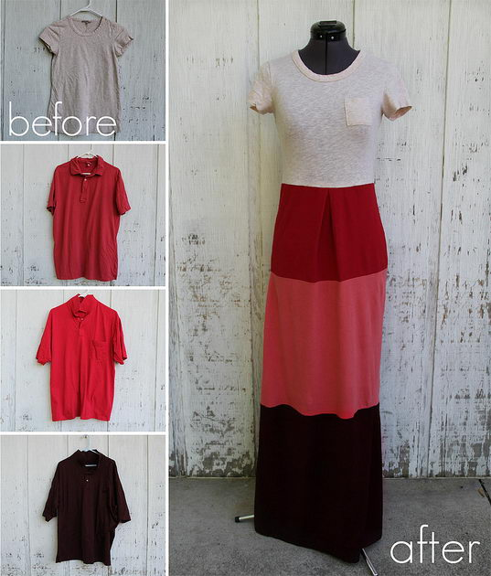 DIY Colorblock Dress from T Shirts. Get the tutorial