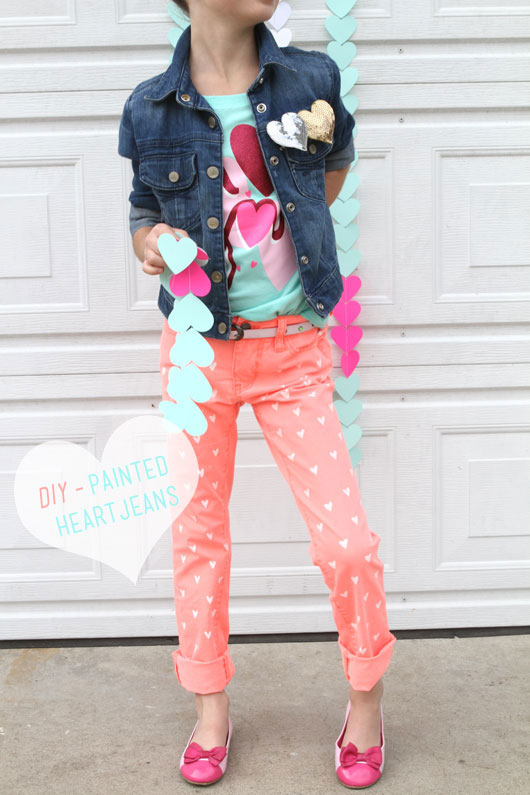 DIY Painted Heart Jeans. See the tutorial