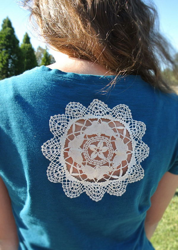 Peekaboo Window Doily T shirt. Learn how to make it