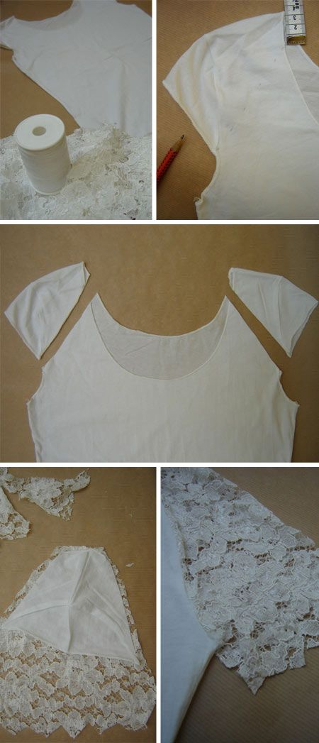 DIY Lace Sleeve T shirt. Get the directions